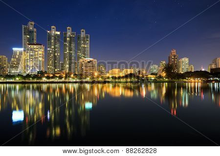 Benchakitti Park at night Cityscape of Bangkok Thailand