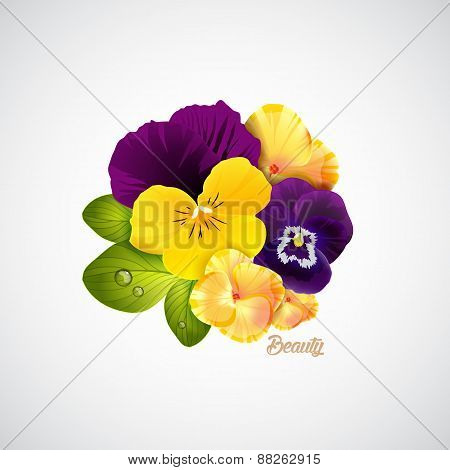 Beauty salon identity naturalistic hydrangea and pansy flower with leaves, and ladybug