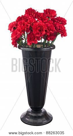 Bouquet Of Red Carnation Flowers Iin Black Pot