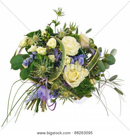 Flower Bouquet From Roses, Green Carnation And Statice Flowers Isolated.