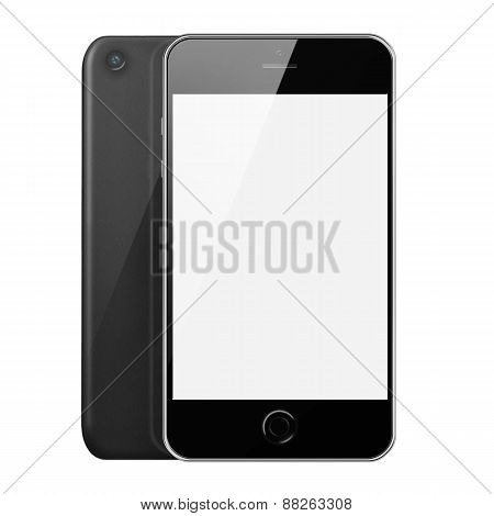 Front And Back View Of Mobile Smart Phone With White Screen