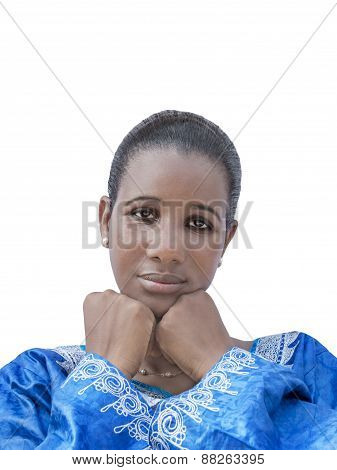 Afro beauty wearing a traditional dress, isolated