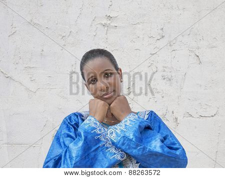 Afro beauty wearing a traditional dress