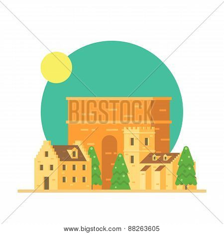 Flat Design Of Trajan's Arch Italy With Village