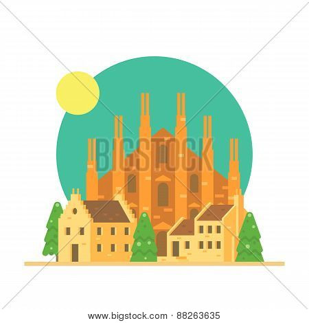 Flat Design Of Duomo Di Milano Italy With Village