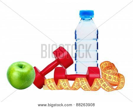 Red Dumbbells Fitness, Green Apple, Bottle Of Water And Measure Tape
