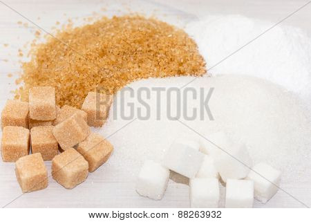 Brown, white and refined sugar