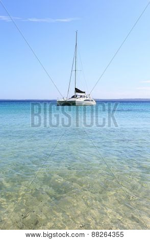 Catamaran On The Water In Jervis Bay