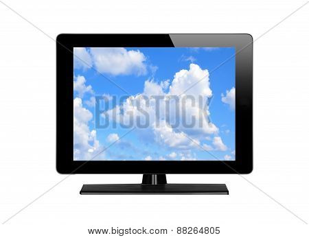 Modern Tv Screen And Blue Sky