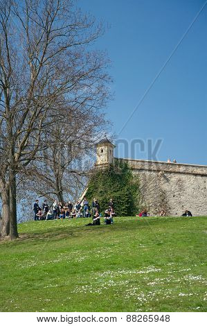 Group Of Youth At Petersberg Citadel, Erfurt, Germany