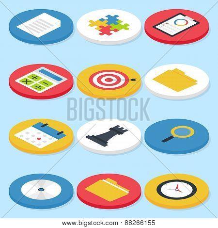 Flat Business Isometric Circle Icons Set