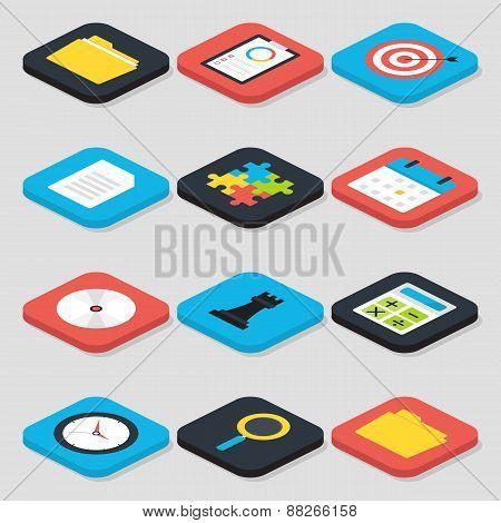 Flat Business Isometric Icons Set