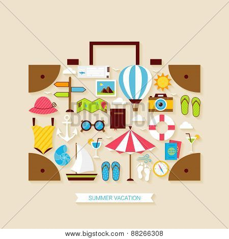 Flat Vacation Travel Summer Holiday Objects Set