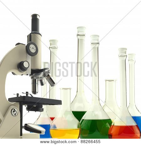 Laboratory Metal Microscope And Test Tubes With Liquid Isolated On White