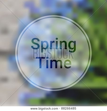 Spring Time Blurred Background With Blue Flowers