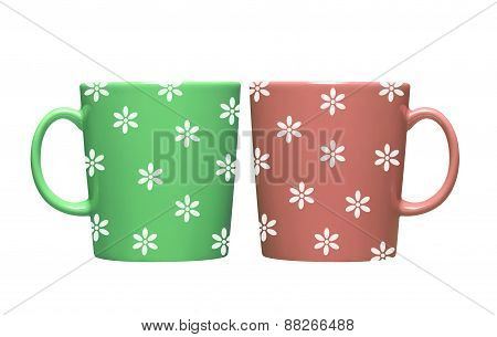 Colorful Tea Cup Isolated On White Background