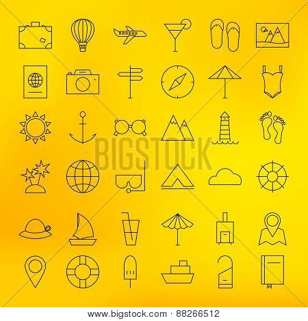 Summer Holiday Line Travel Icons Set