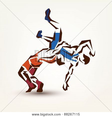 Wrestling Symbol, Vector Silhouette Of Two Athletes