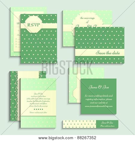Set of vintage style wedding cards. Wedding invitation, rsvp card, tag on polka dot pattern.
