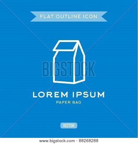 Paper Bag, Outline Vector Icon, Logo