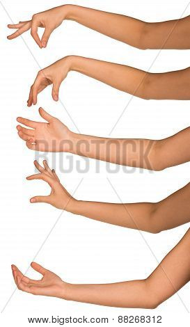Set of many woman arms in different phases isolated on white