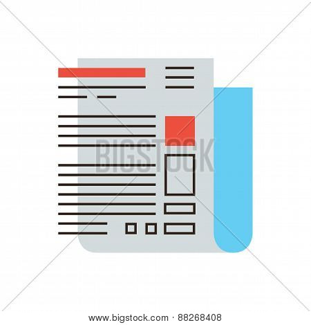 Abstract Newspaper Flat Line Icon Concept