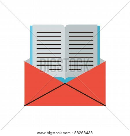 Book By Mail Flat Line Icon Concept