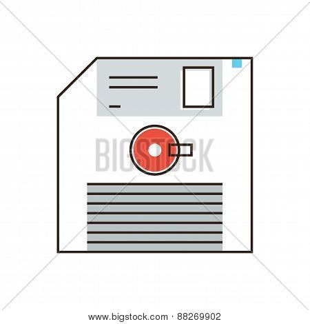 Floppy Disk Flat Line Icon Concept