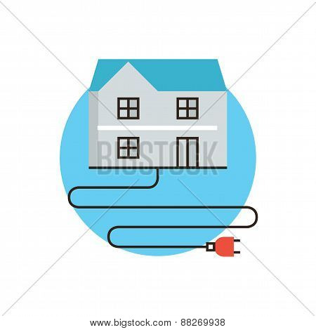 Home Electricity Flat Line Icon Concept