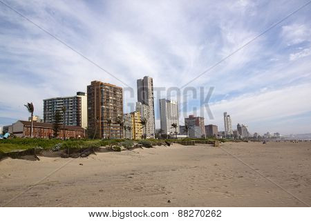 Morning View Of Golden Mile Beachfront Skyline In Durban