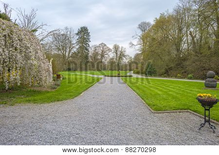Footpath through a park in spring