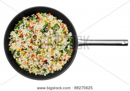 Pan with fried vegetables