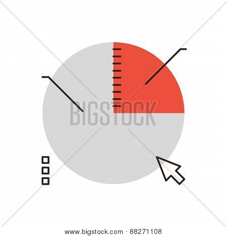 Business Pie Chart Flat Line Icon Concept