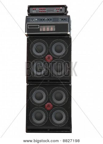 Old Powerfull Stage Concerto Audio Speakers And Amplifiers Isolated On White