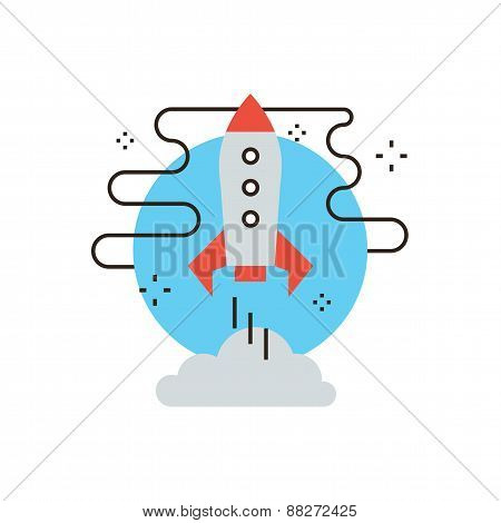 Shuttle Launch Flat Line Icon Concept