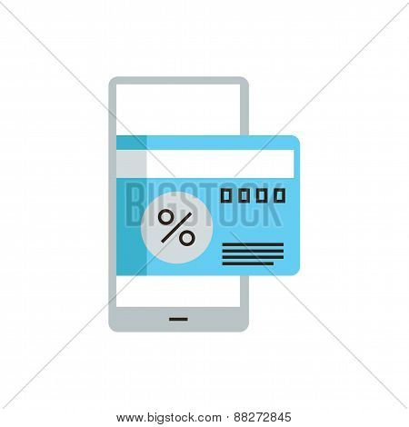 Mobile Phone For Payment Flat Line Icon Concept