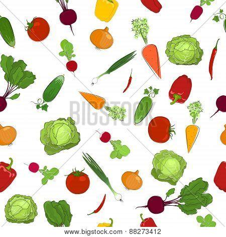 Seamless  Pattern Of Fresh Raw Vegetables
