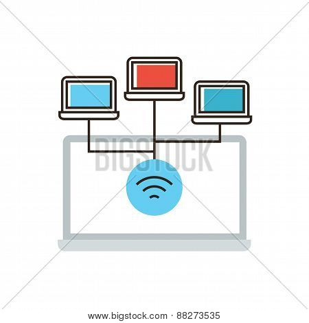 Wireless Network Connection Flat Line Icon Concept