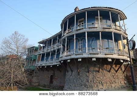 Tbilisi, GE-Feb,26 2015:Residential house on the remains of the fortress wall in Tbilisi