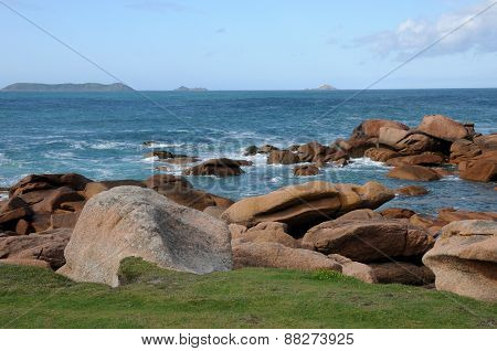 France, Granite Rocks In Tregastel