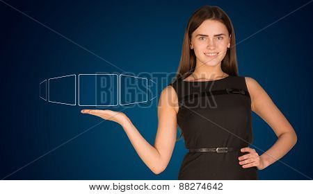 Businesswoman advisor outstretched right arm with empty squares