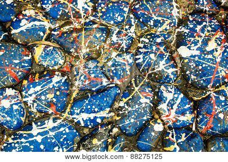 Blue Paint Drip Stones