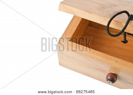 Empty Wooden Box On White Background
