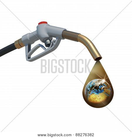 Brown oil drop withing earth inside, weeping from the fuel nozzl