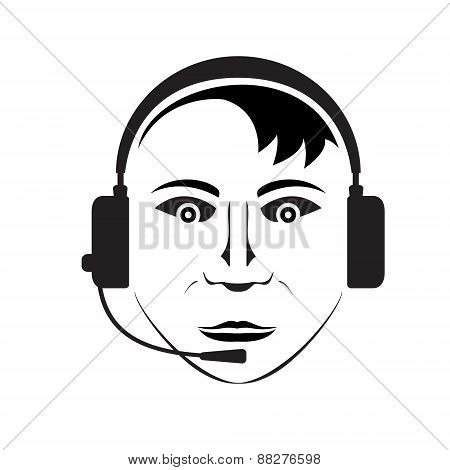 silhouette of telephone support man wearing headphones with microphone