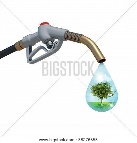 Landscape with tree in the centre inside of a drop weeping from