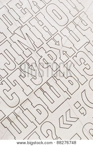 cyrillic alphabet letters paper background