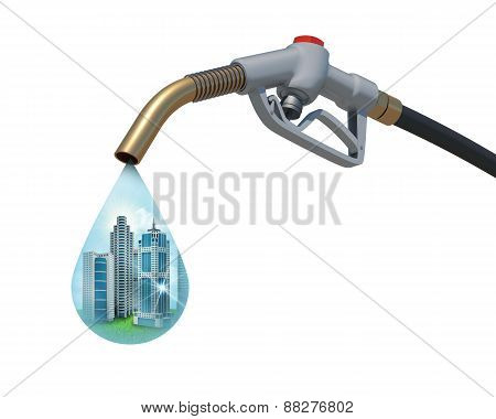 Cityscape inside of aa drop weeping from the fuel nozzle