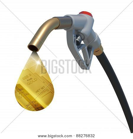 Gold bars in the drop weeping from hose tube