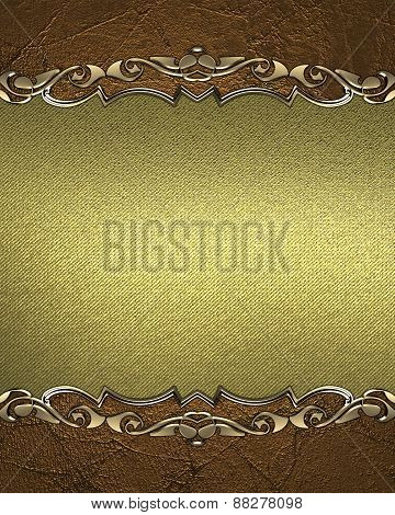 Element For Design. Template For Design. Grunge Frame With Gold Ornaments And Gilded Canvas